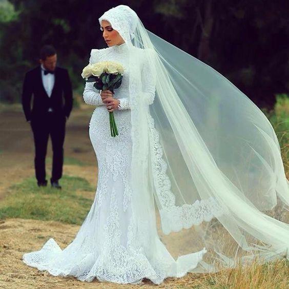 Beautiful Mermaid Modest Wedding Dresses - Arabia Weddings