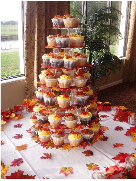 Wedding cupcakes decorated with autumn leaves
