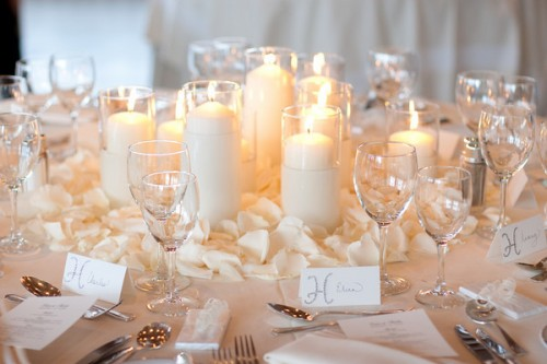 Candles for Winter Wedding Centerpiece
