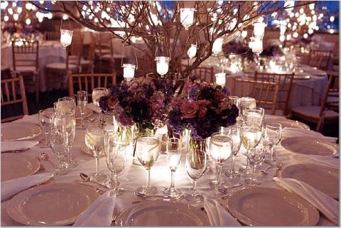 Winter Wedding Purple Centerpiece