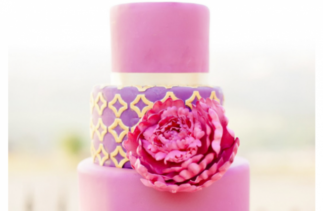 Pink and Purple Wedding Cakes