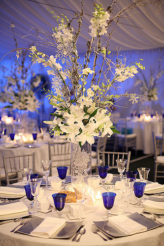 White and Blue Winter Wedding Centerpieces