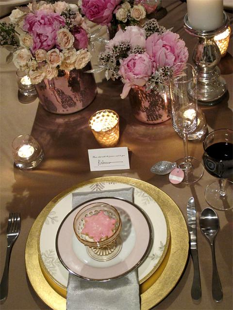 Pink and Gold Winter Wedding Table Setting