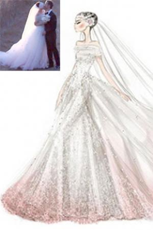 Pastel Wedding Gowns: Get Inspired by the Stars - Arabia Weddings