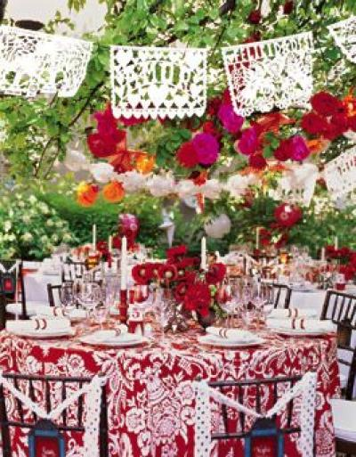 Mexican Bridal Shower Colorful Settings