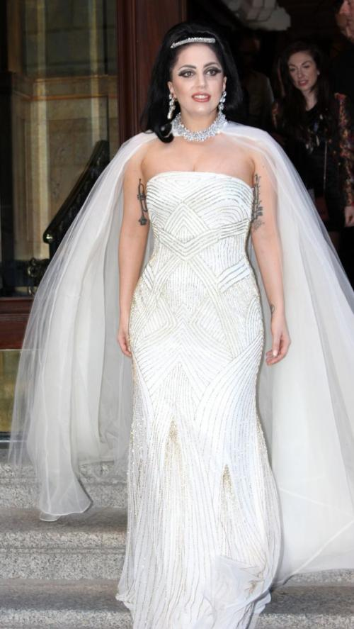 Lady Gaga Leaves Hotel in Wedding Dress