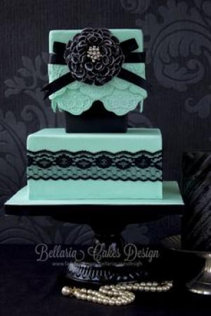 black_and_mint_wedding_cake