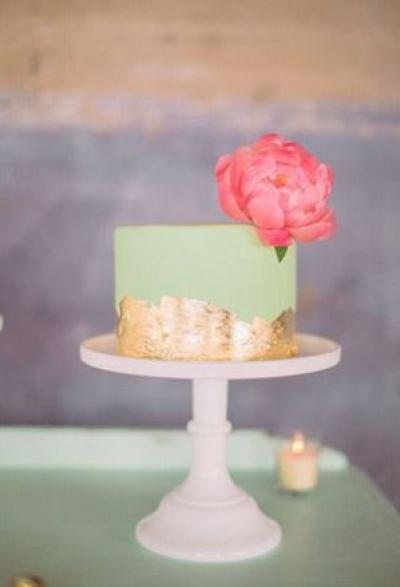 mint_and_gold_bridal_shower_cake