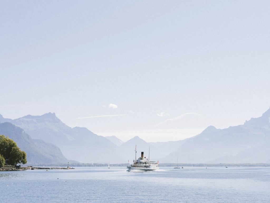 Steam boat approaching Vevey in Lake Geneva Region