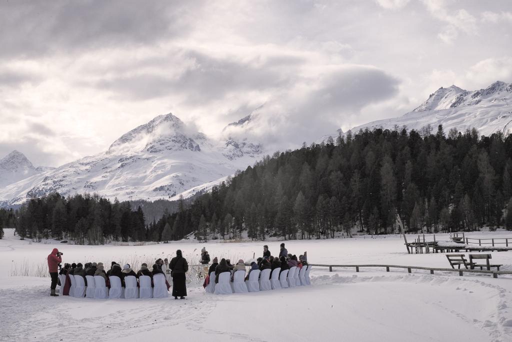 Wedding ceremony outdoor winter in the snow