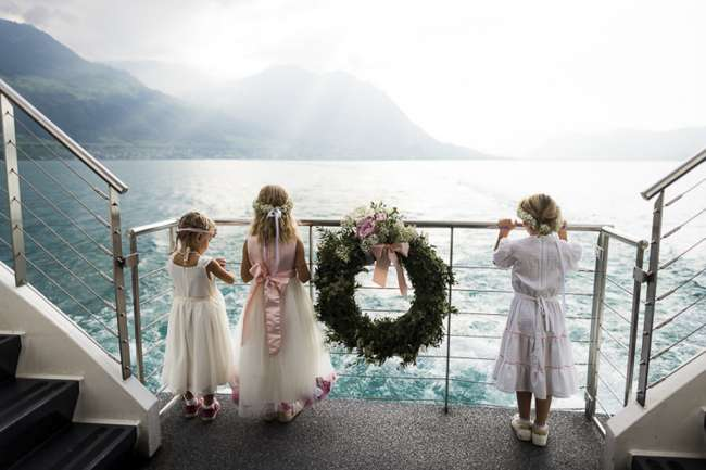 Children at a wedding on a ship in Switzerland