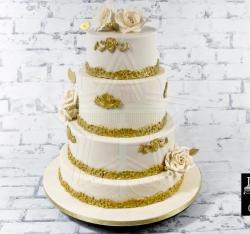 White and gold wedding cake