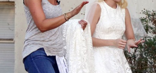 Emma Roberts Spotted Wearing Wedding Dress for Scream Queens