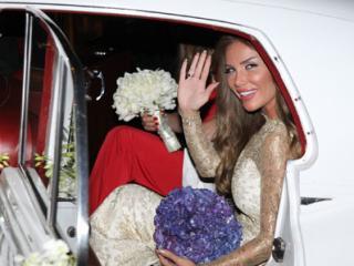 Nicole Saba Getting in Her Wedding Car