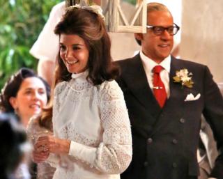 Katie Holmes Glows as Jackie Kennedy in Her Wedding Dress
