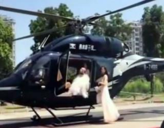 Wedding Helicopter Lands in Middle Of Traffic