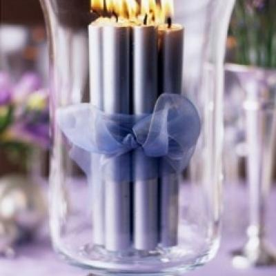 Blue Candles Centerpiece