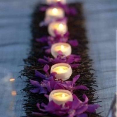 Small Candles and Flowers