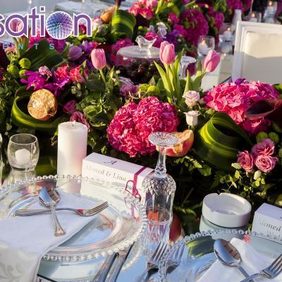 حفل زفاف مستوحىً من الفاكهة الاستوائية والغروب من تنظيم احساس الحدث للأفراح والمناسبات