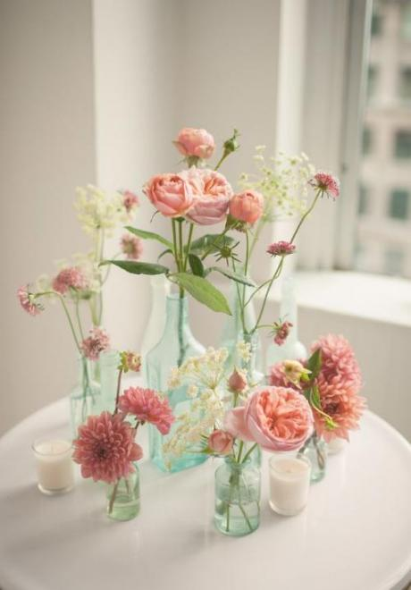 Flower Centerpieces in Bottles for Your Wedding