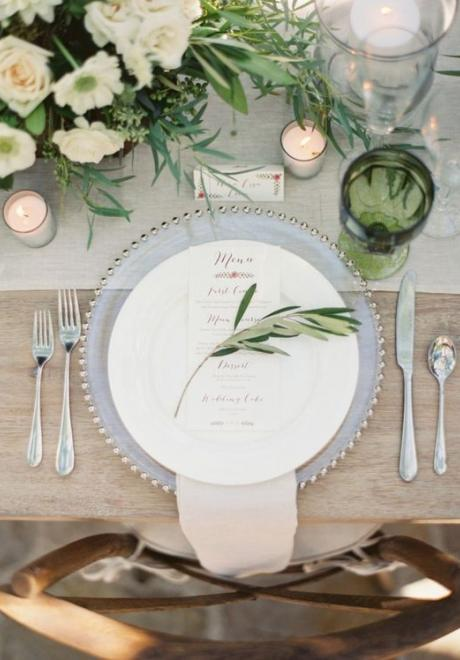 Greenery Wedding Table Settings
