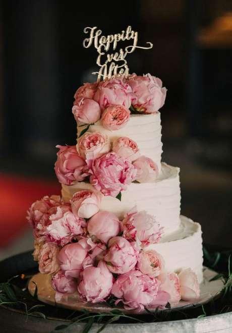 Peonies Wedding Cake 2