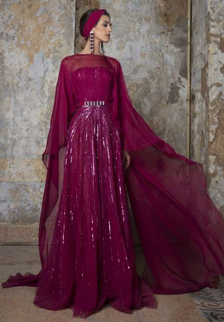 Deep Mauve Emroidered Gown by Rami Kadi