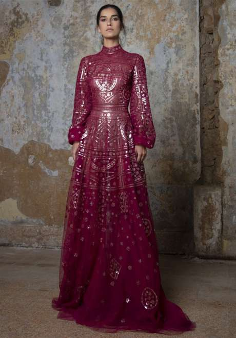 Deep Mauve Emroidered Layered Gown by Rami Kadi