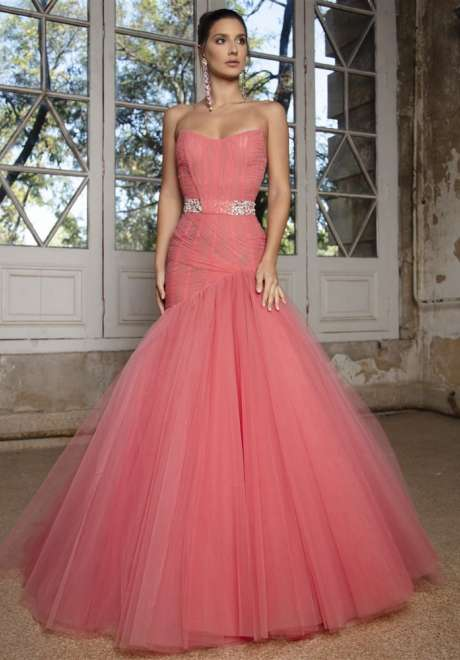 Fuchsia Pink Draped Tulle Dress by Rami Kadi