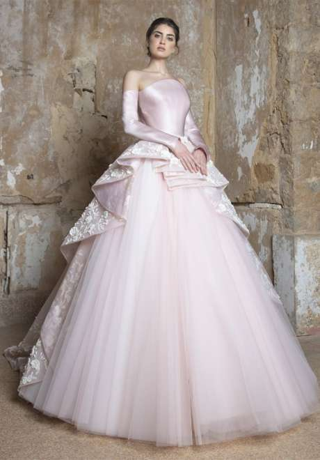 Light Rose Satin Duchess Gown by Rami Kadi