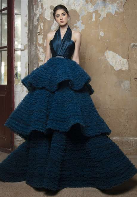Midnight Blue Satin Duchess Gown by Rami Kadi