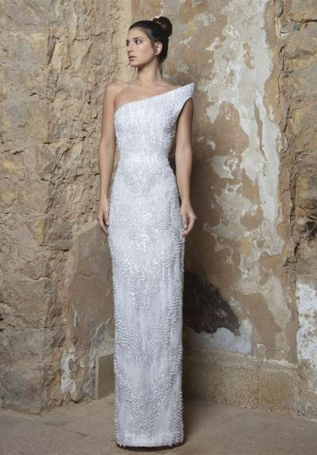 Pearl White Asymmetric Dress by Rami Kadi