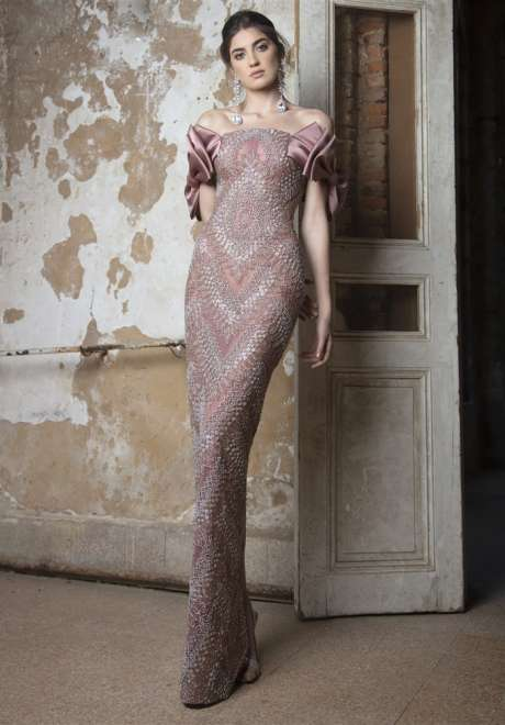 Wistful Mauve Fitted Dress by Rami Kadi