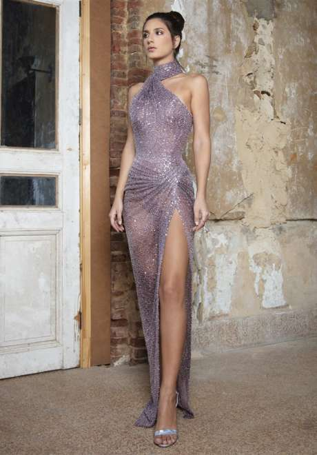 Wisftul Mauve Knit Dress by Rami Kadi