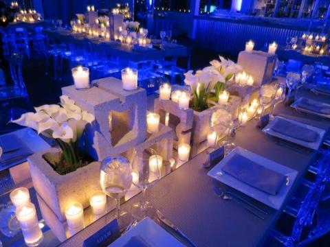 أفكار لديكور حفل زفاف بطابع اسمنتي