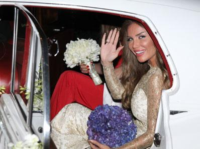 Nicole Saba Getting in Her Wedding Car