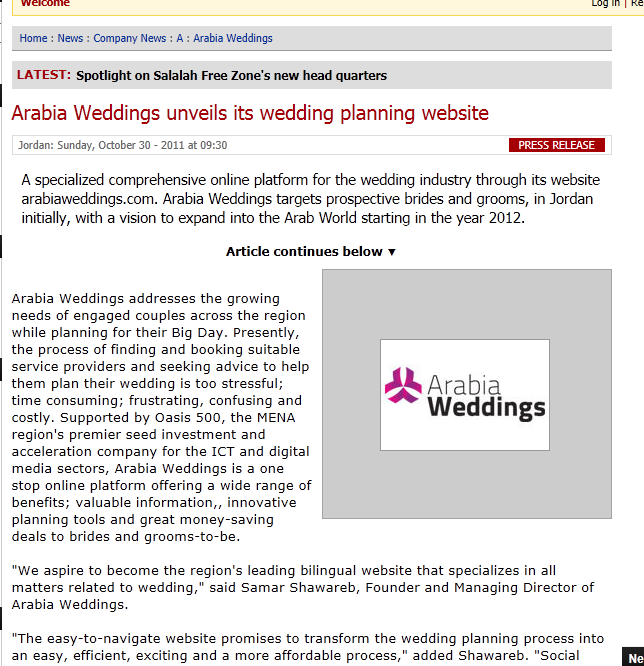 Arabia Weddings Press Release on AME Info