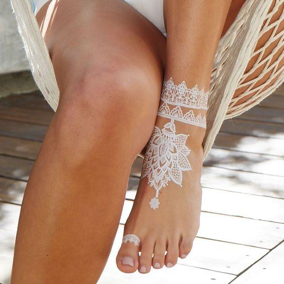White Henna Designs For The Bride's Feet