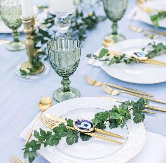 أفكار لحفل زفاف بثيم الخرزة الزرقاء