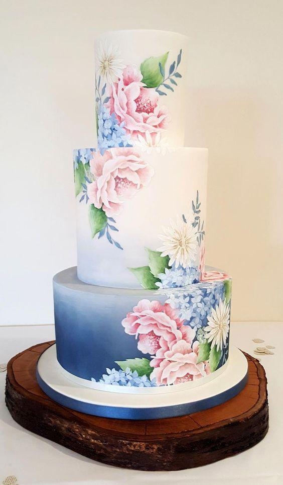 hand painted wedding cakes 1