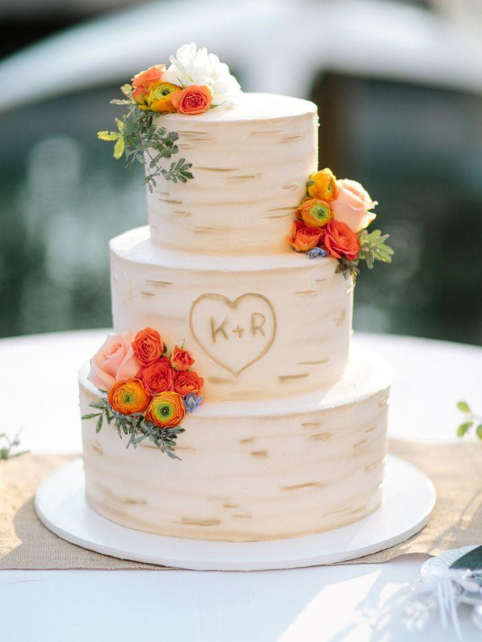 Fake Tree Bark Wedding Cake