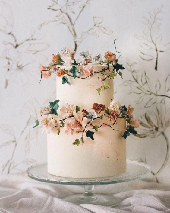 Wild Flowers Wedding Cake