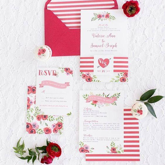 Stripes and Floral Wedding Invitations 1