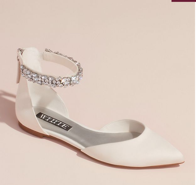 Satin d'Orsay Flat with Embellished Ankle Strap
