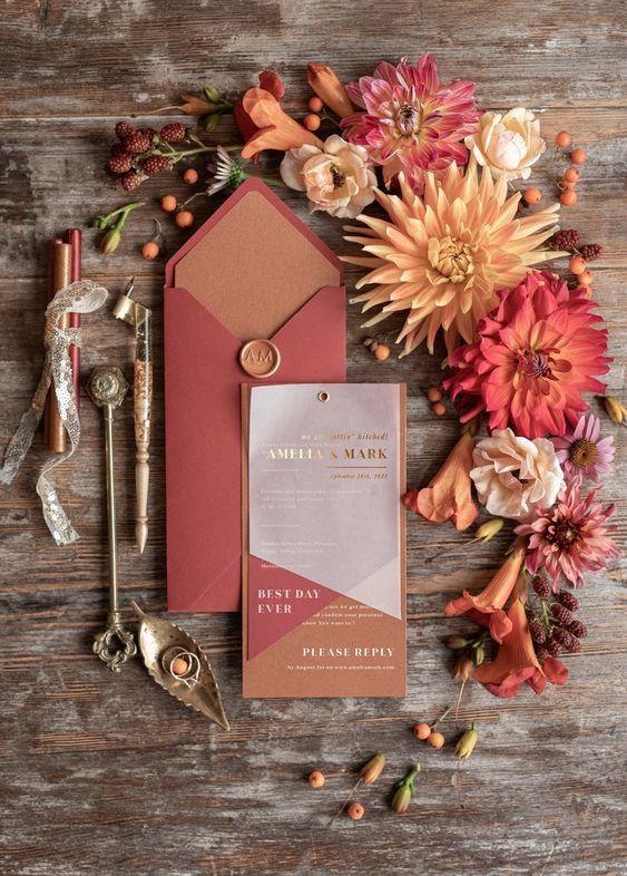 دعوات الزفاف من وحي فصل الخريف