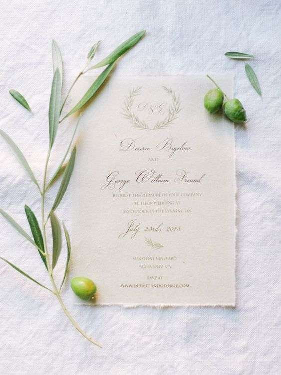 Wedding Invites with Olive Branches