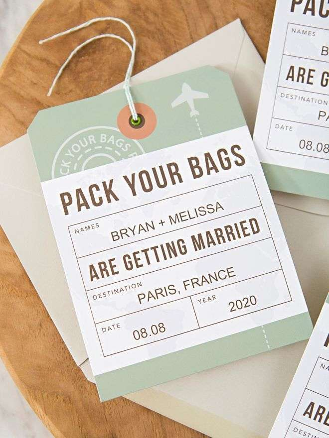 Luggage tags as invitations