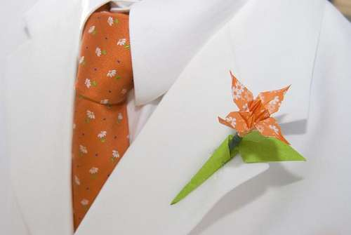 Groom with Origami Art