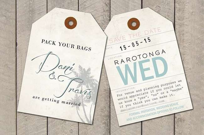 Luggage tags as wedding invitations