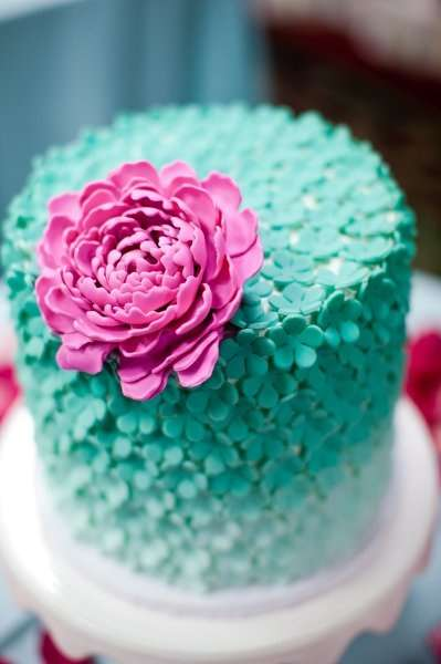 Pink and Aqua Wedding Cake